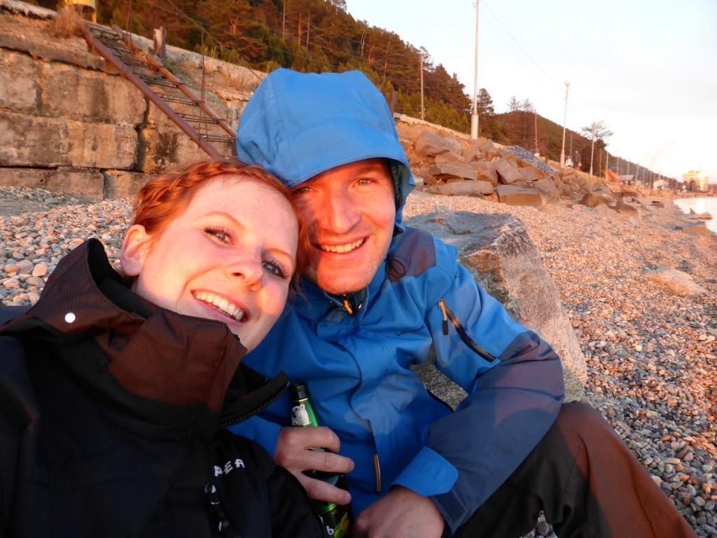 Sonnenuntergang und ein kühles Bier - beide glücklich :-)