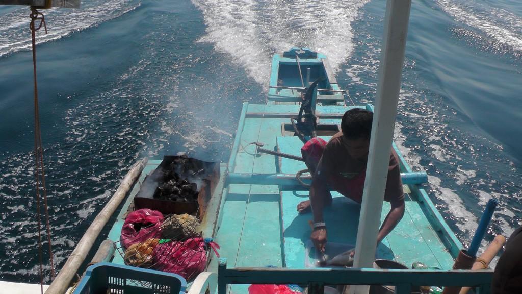 Lunchzubereitung auf dem Boot