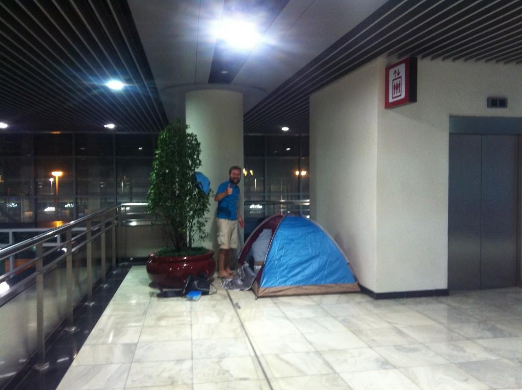 Unser Zeltplatz in Terminal 1 :-)